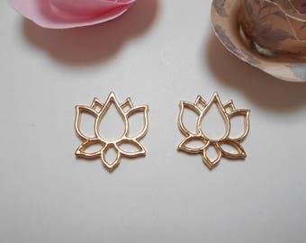 2 pendants origami lotus flower 20 x 20 mm gold