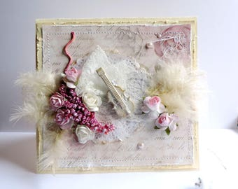 Shabby chic card, any occasion: birthday,... Card with roses, feathers, violin.