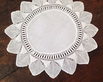 Vintage cotton, round, crochet lace doily
