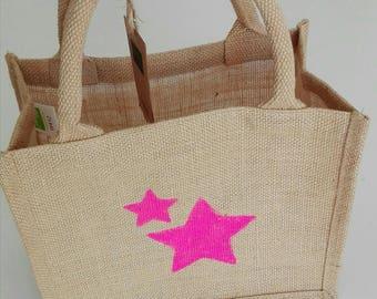 The small 100% burlap beach bag