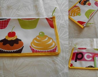 pouch canteen with space to record class-name-first name - cupcakes oilcloth pattern