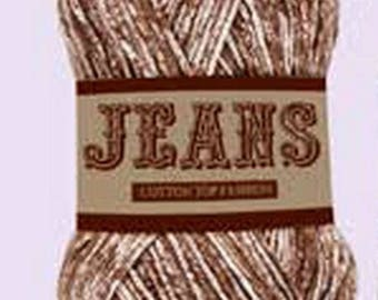 Ball of cotton Jeans brown / white (013) for knitting and crochet, 100% cotton washable machine.