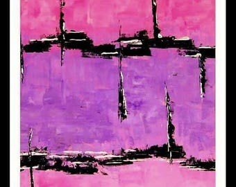 Modern abstract art painting home decor pink lilac black painting 24x18/ Art modern abstrait peinture rose lilas noir.