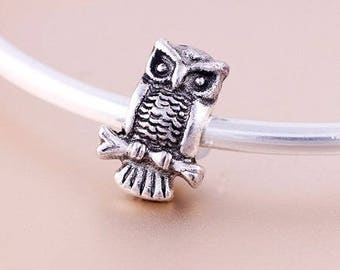 2 beads big hole, model 14 * 8mm antique silver OWL approx.