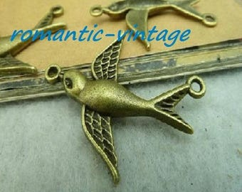 """Bird charm 20 """"between two"""" antique bronze 37 * 29.5 mm"""