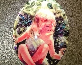 40x30mm large illustrated glass dome cabochon