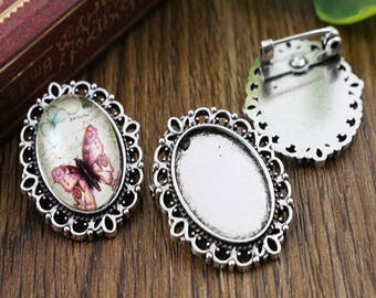 18 * 13mm; 2 beautiful support cabochon 13 * 18 mm antique silver spindles