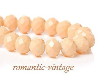 """20 """"salmon"""" polished Crystal, electroplates faceted 8mm beads"""