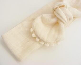 Bandeau / headband gaze double de coton et petits pompons ivoires, à nouer