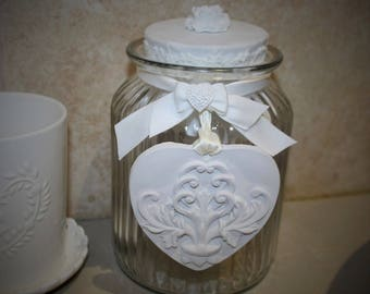 Shabby chic glass jar