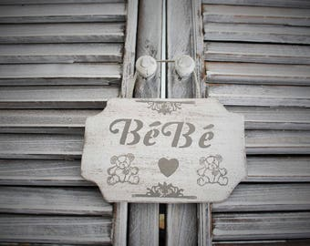 Wooden baby door plaque