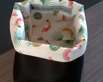 Black faux basket and cotton tropical pattern