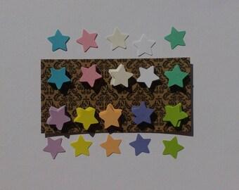 Set of 200 cuts paper stars pastel colors, size 1.5 cm