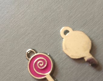 Lollipop/candy cane: pink enamel