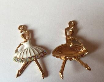 Golden dancer and white enamel + rhinestones