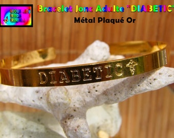 "Adult engraving ""DIABETIC"" gold plated brass Bangle Bracelet"