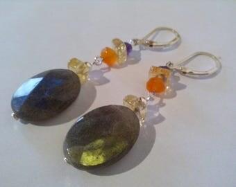 Labradorite earrings, citrine, Amethyst, Carnelian gemstones, 925 Silver sterling, multicolored, Rainbow labradorite jewelry
