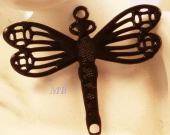 x 4 prints 15x17mm black lacquered brass dragonfly