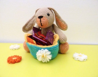 Easter Bunny with her basket, amigurumi, ready to search for eggs