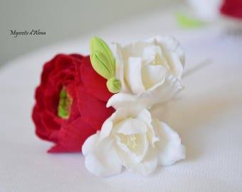 Red and white theme wedding hair pins