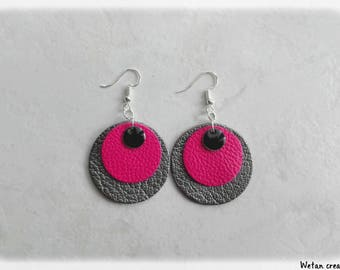 Earrings leather-Fuchsia/silver/sequins earrings enamel black
