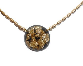 Gold crinkle chips in resin pendant black and gold jewelry leaf necklace elegant on etsy for girls or women