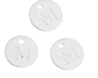 Letter M - 12mm silver plated pendant