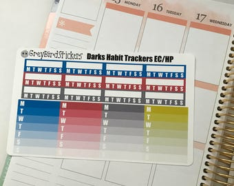 Darks Habit Trackers for the Erin Condren Life Planners, Happy Planners and More!