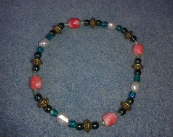 Pink and turquoise Art deco style bracelet