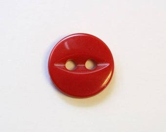 Button 11mm x 50 red 2 hole - 001503 fish eye
