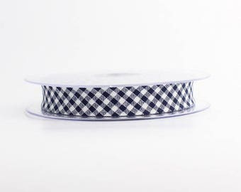 Navy Blue gingham bias and white 18 mm folded 9 mm