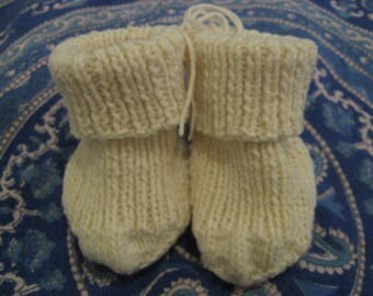 Ecru hand knitted boot style, baby booties
