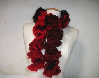 Red and black ruffled scarf made crochet women 110 cm