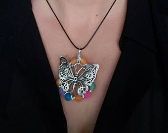 Frosted agate bead Butterfly pendant