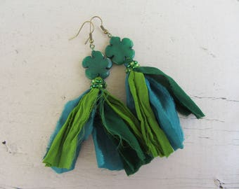 Ethnic earrings dangle Indian sari silk, flower jade, seed beads, bright green, Pine Green and teal