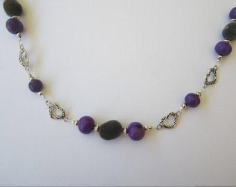 Zanzibar and acai seeds necklace purple
