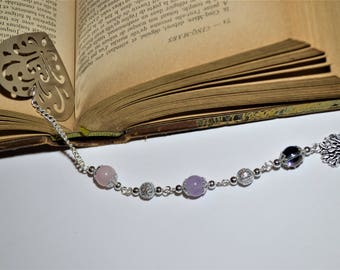 Bookmark made of stainless steel / silver plated / quartz beads, Amethyst, rock crystal / heart / tree of life / stone of wisdom / Christmas