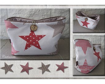Tidy stars quilted large wooden button