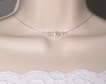 White Glamour Collection - Joseph - Swarovski white Crystal bridal necklace wedding necklace