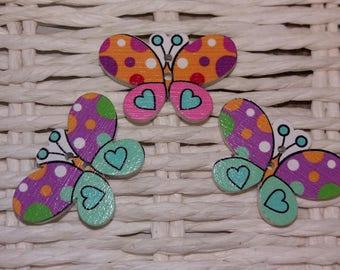 set of 3 cute wooden embellishments butterflies buttons
