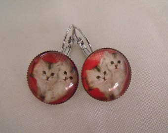 SALE earrings cabochon 20mm chatons