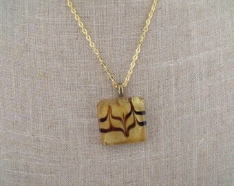 CLEARANCE gold chain glass pendant necklace