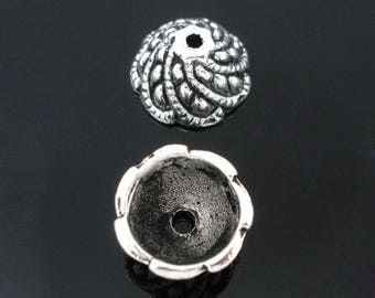 10 ornate bead caps silver 11x6mm