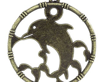 Round 16 charms Dolphin outline bamboo metal bronze
