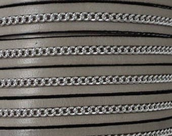 20 cm leather strap 10 mm flat taupe silver chain