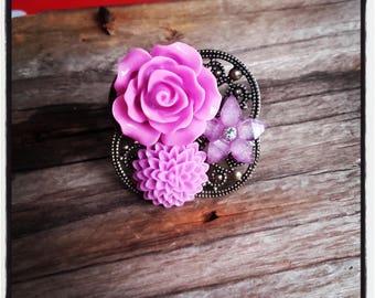 Ring bronze cabochon flower purple
