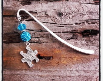 turquoise puzzle silver charm bookmark