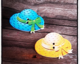 Set of 2 beautiful yellow and turquoise Hat wood buttons