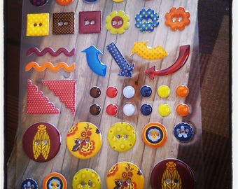 set of 42 Stickers sticker buttons and other SCRAPBOOKING