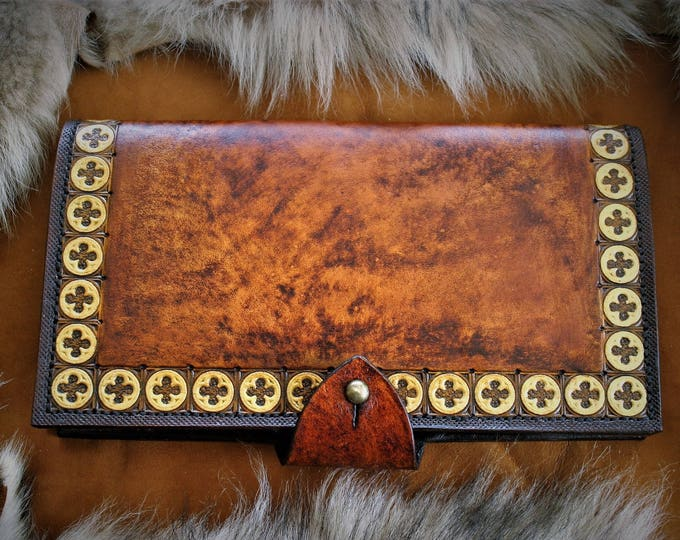 Featured listing image: Checkbook leather cardholder chic luggage leather embossed luxury craftsmanship